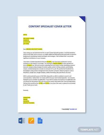 Free Content Specialist Cover Letter Template