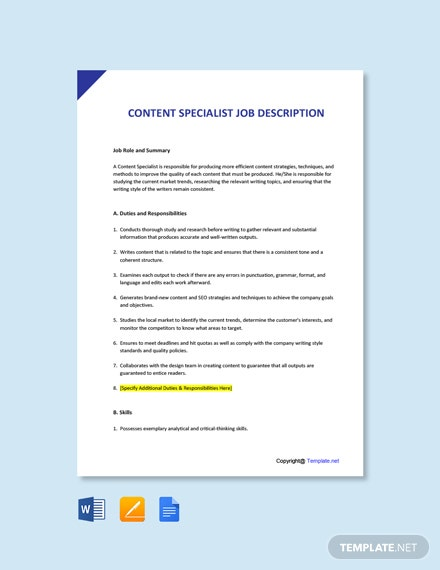 Free Content Specialist Job Ad/Description Template