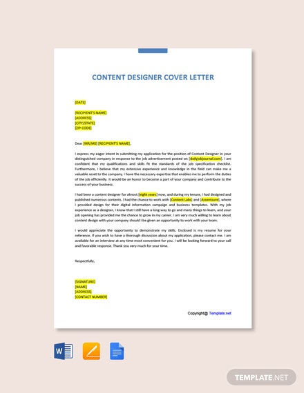Free Content Designer Cover Letter Template