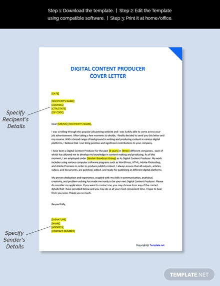 Digital Content Producer Cover Letter Template