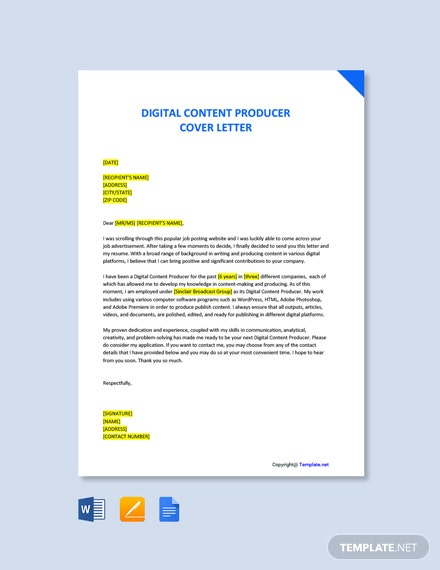 Free Digital Content Producer Cover Letter Template