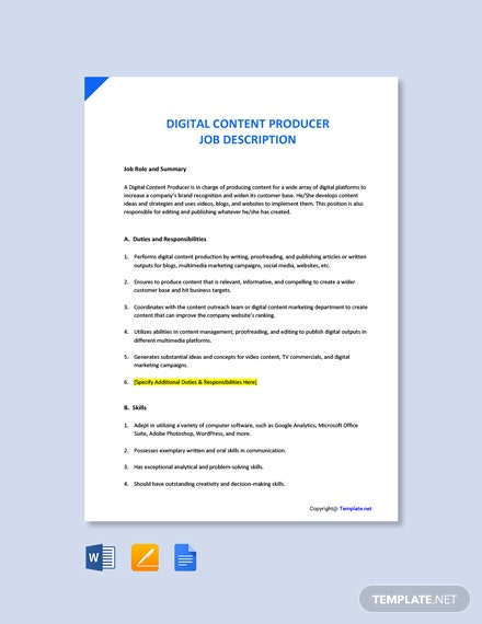 Free Digital Content Producer Job Description Template