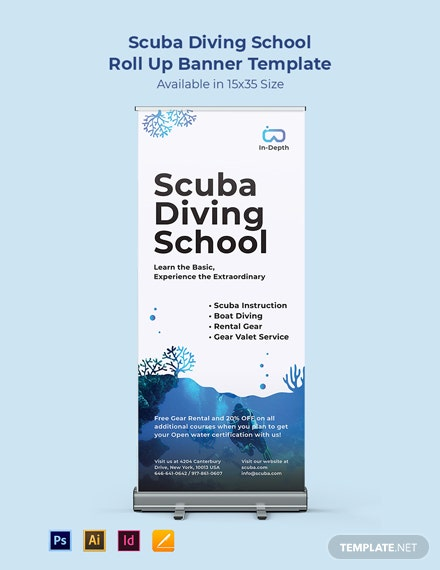 Scuba Diving School Roll Up Banner Template