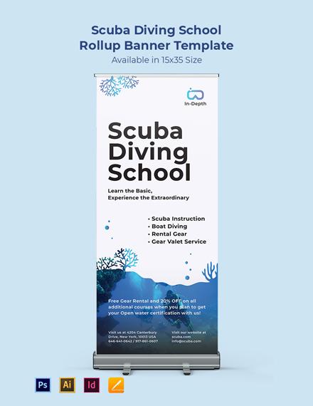 Scuba Diving School Rollup Banner Template