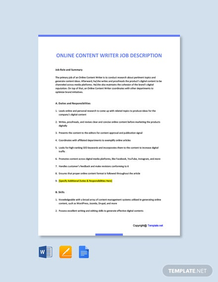 Free Online Content Writer Job Ad and Description Template