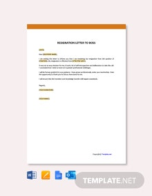 Free Resignation Letter to Boss Template