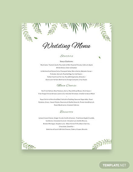 free sample wedding menu template download 143 menus in. Black Bedroom Furniture Sets. Home Design Ideas