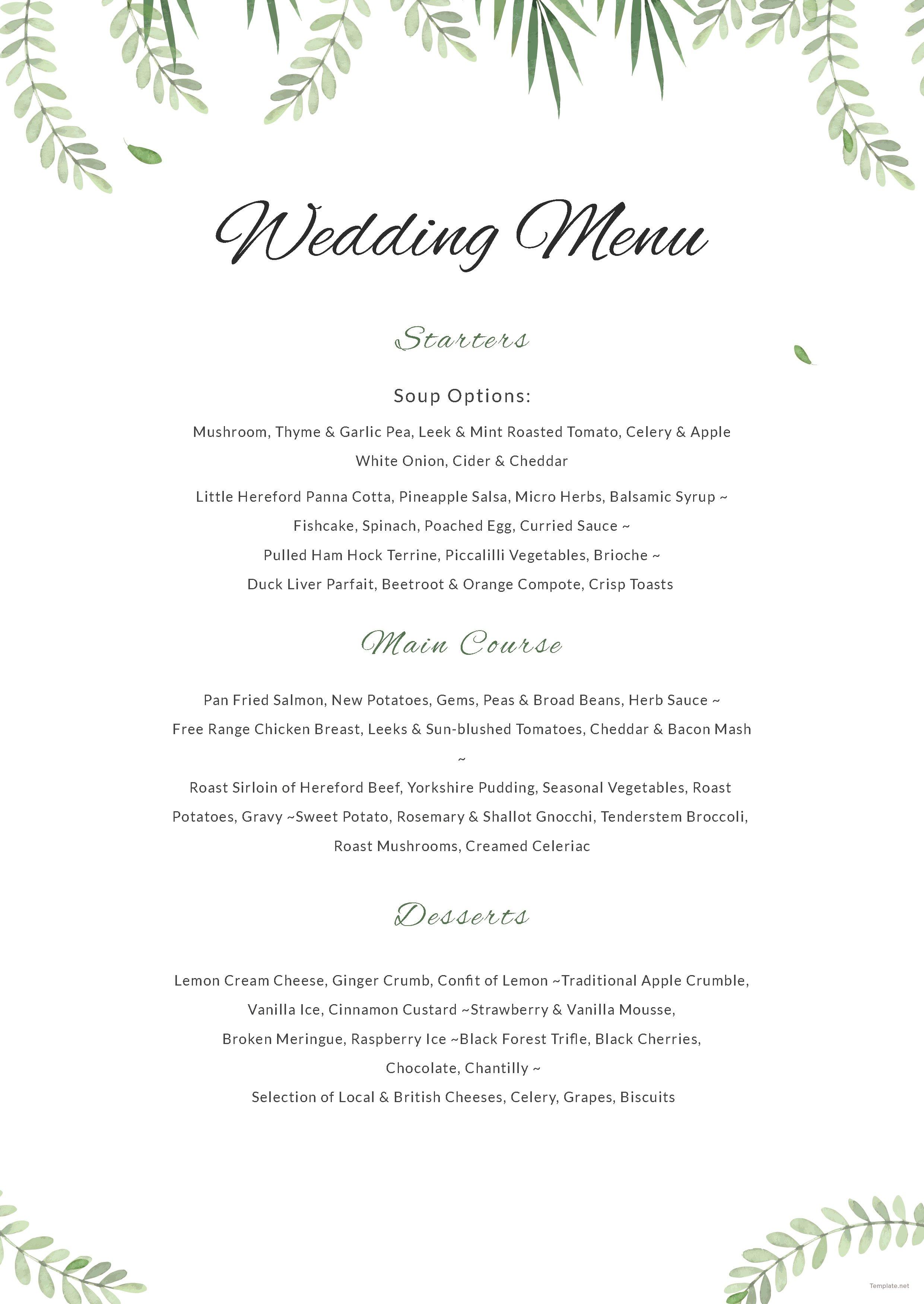 Sample Wedding Menu Template in Adobe Photoshop, Illustrator  Template.net