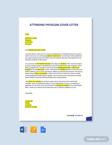Free Attending Physician Cover Letter Template