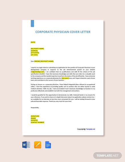 Free Corporate Physician Cover Letter Template