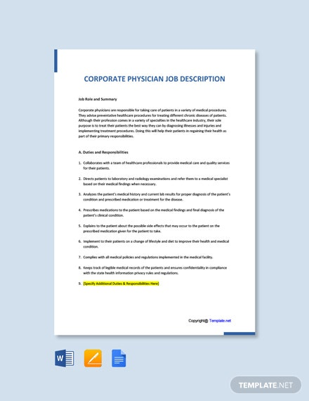 Free Corporate Physician Job Ad and Description Template