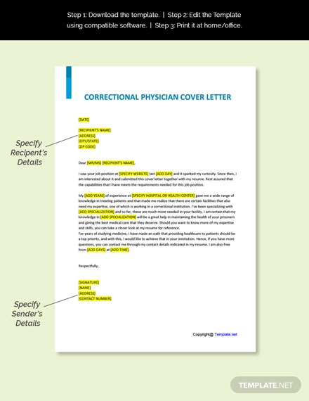 Correctional Physician Cover Letter Template