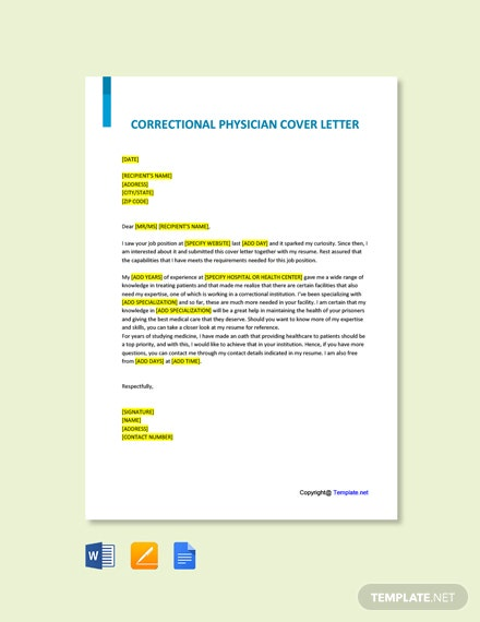 Correctional Physician Cover Letter