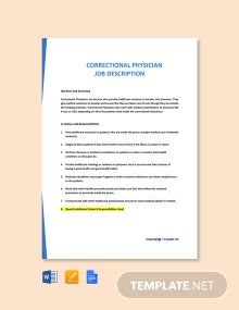 Free Correctional Physician Job Description Template