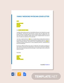 Free Family Medicine Physician Cover Letter Template