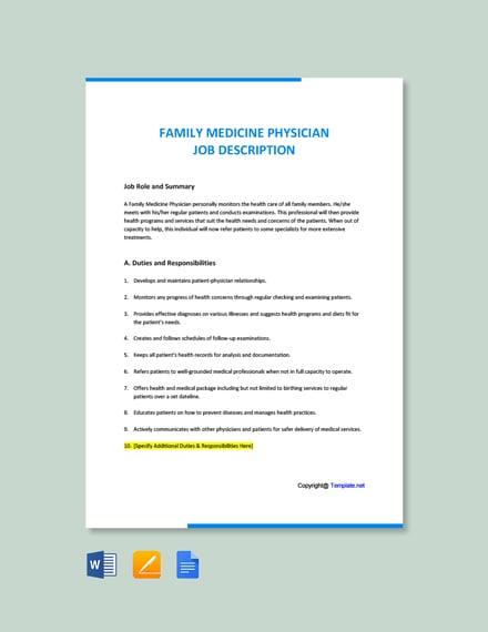 Free Family Medicine Physician Job Description Template