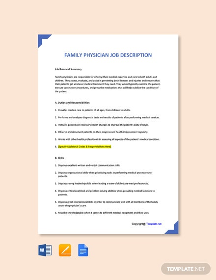 Free Family Physician Job Ad and Description Template