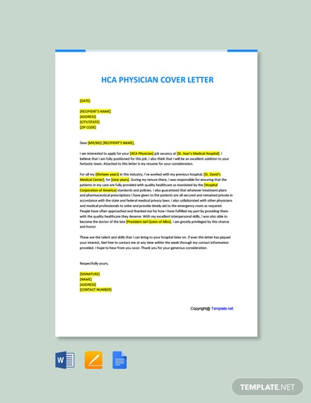 Free HCA Physician Cover Letter Template