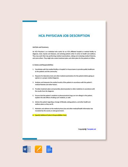 Free HCA Physician Job Description Template