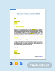 Free Geriatric Physician Cover Letter Template