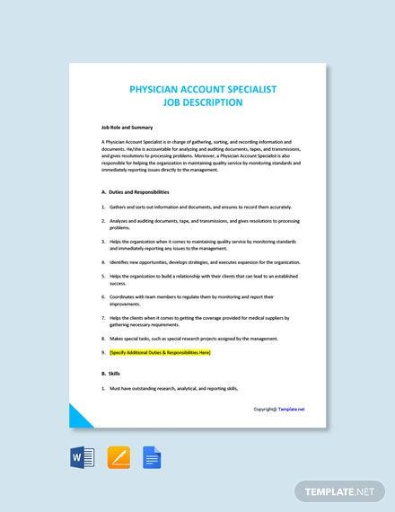 Free Physician Account Specialist Job Description Template