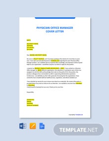 Free Physician Office Manager Cover Letter Template