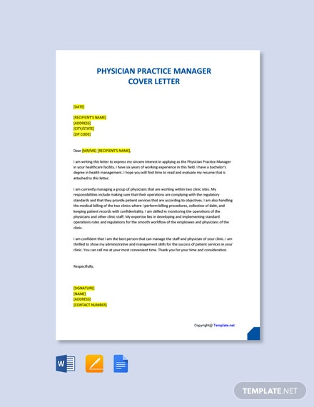 Free Physician Practice Manager Cover Letter Template