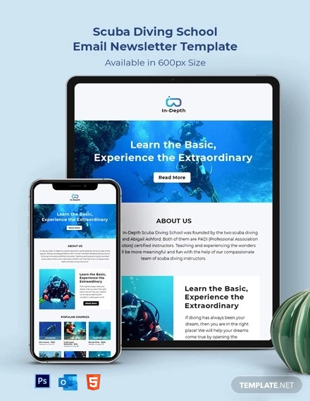 Scuba Diving School Email Newsletter Template