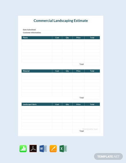 Free Commercial Landscaping Estimate Template