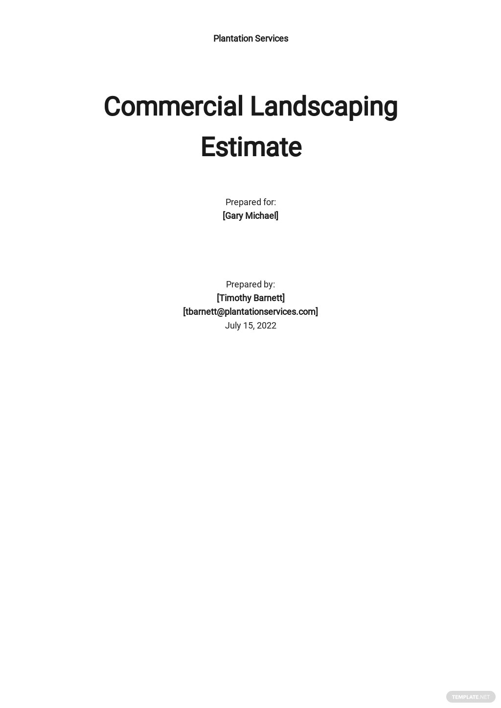 Commercial Landscaping Estimate Template