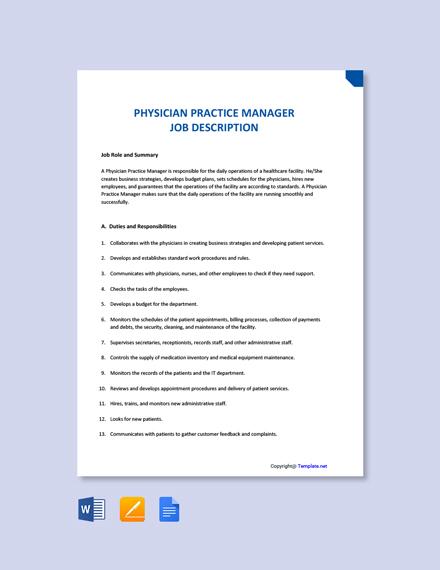 Free Physician Practice Manager Job Description Template