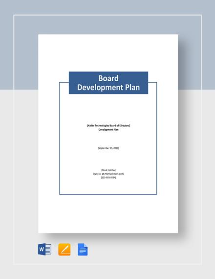 Board Development Plan Template