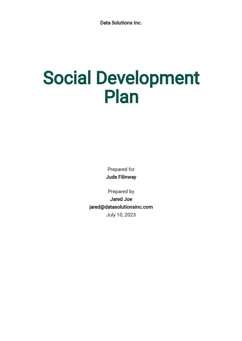 Social Development Plan Template