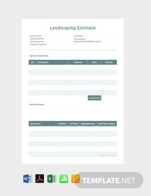 Landscaping Estimate Example Template