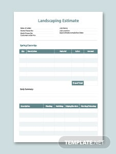 Landscaping Estimate Example