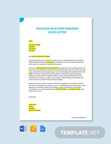 Free Physician Relations Manager Cover Letter Template