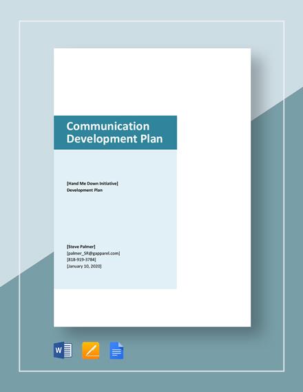 Communication Development Plan Template