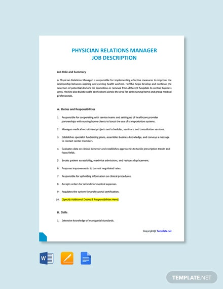 Free Physician Relations Manager Job Description Template
