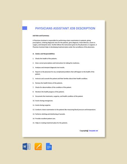 Free Physicians Assistant Job Description Template