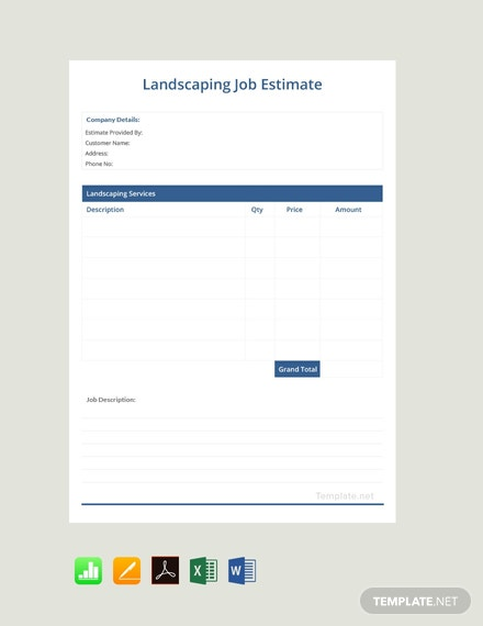 Free Landscaping Job Estimate Template
