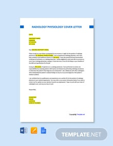 Free Radiology Physician Cover Letter Template