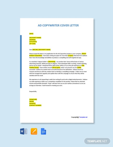 Free Ad Copywriter Cover Letter Template