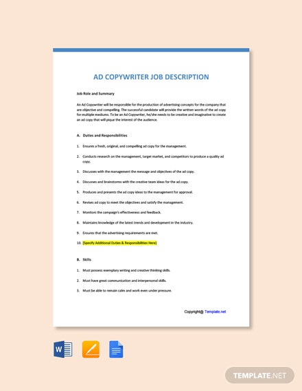 Free Ad Copywriter Job Ad/Description Template