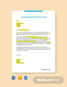 Free Business Writer Cover Letter Template
