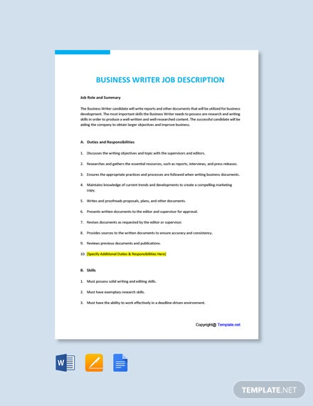 Free Business Writer Job Ad/Description Template