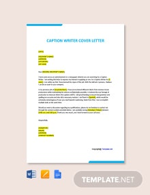 Free Caption Writer Cover Letter Template