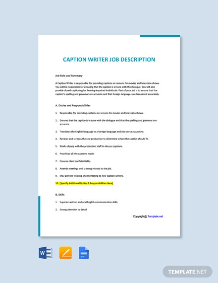 Free Caption Writer Job Ad/Description Template
