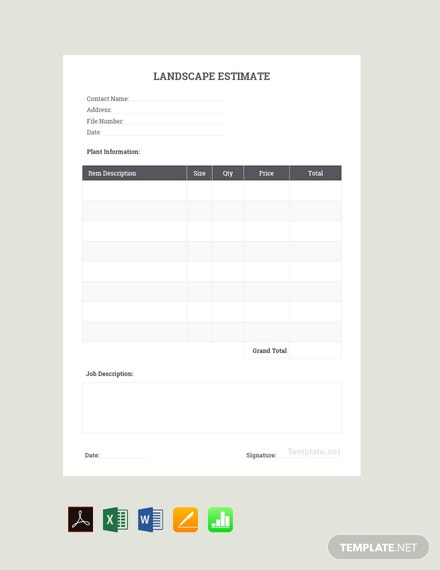 Free Sample Landscaping Estimate Template
