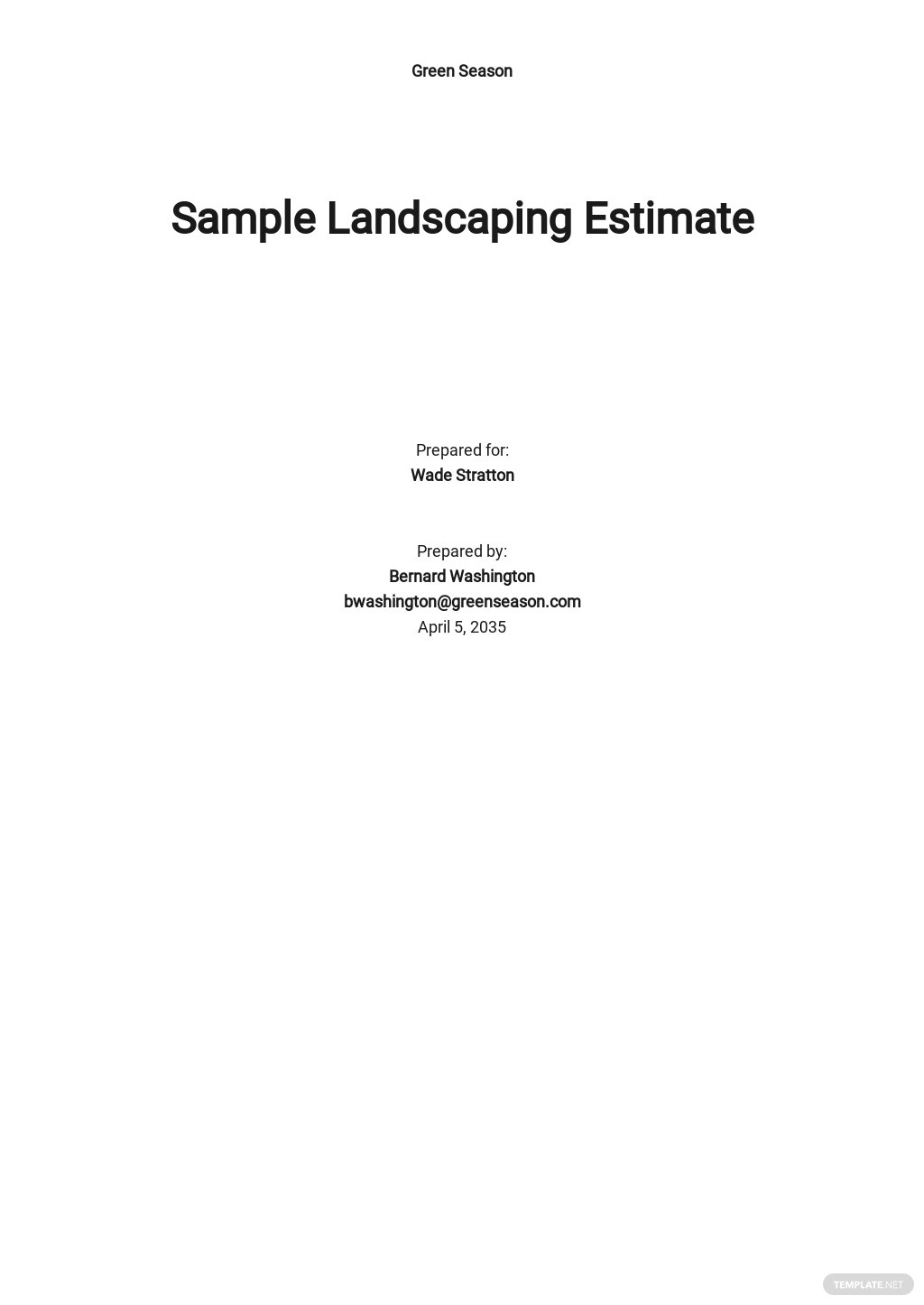 Sample Landscaping Estimate Template