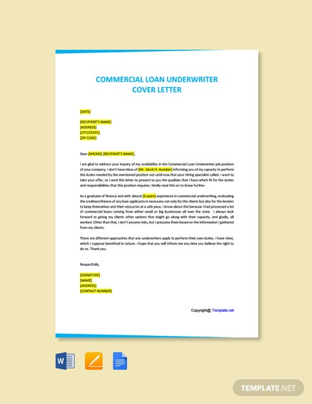 Free Commercial Loan Underwriter Cover Letter Template